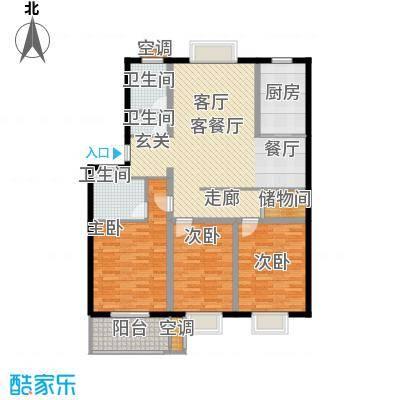三禾城中城130.86㎡建筑面积约130.86平米,三房二厅二卫户型3室2厅2卫