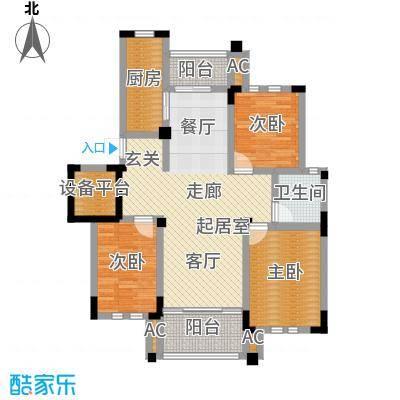 中港城世家122.00㎡B6户型3室2厅1卫建筑面积-T