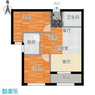 凤城国际广场E户型两室两厅一厨一卫79平米户型