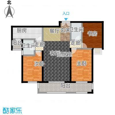 唐山万达广场三室两厅两卫约114平米户型