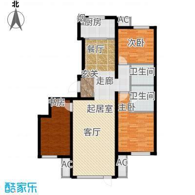 万科温莎堡A6三室两厅两卫127平米户型3室2厅2卫