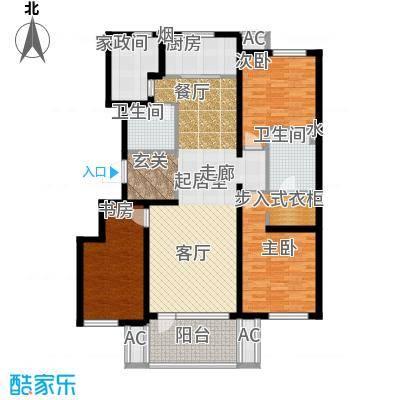 万科温莎堡A5三室两厅两卫135平米户型3室2厅2卫