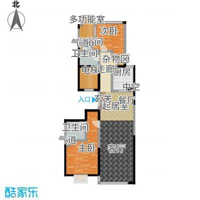 绿城南湖春晓123.00㎡B2两室两厅两卫123平米户型2室2厅2卫