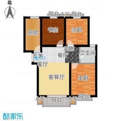 龙泽国际104.81㎡三室两厅一卫户型3室2厅1卫X