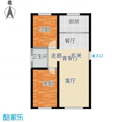 万家翔悦91.22㎡B-4户型2室2厅1卫