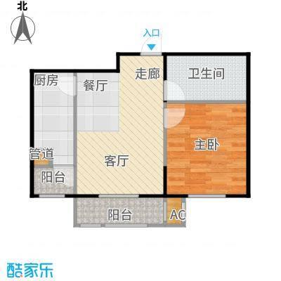 ㎡阳新城1室2厅1卫1厨60.56㎡户型