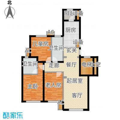 伟峰东樾125.00㎡高层C3户型3室2厅2卫QQ