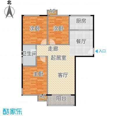 鼎盛新城A户型三室两厅一卫户型3室2厅1卫