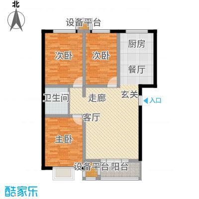 金港花园107.80㎡C1 户型 3室2厅1卫 107.80平户型3室2厅1卫
