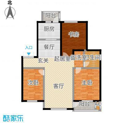 长电・朗天国际126.72㎡长电朗天国际2#8#9#楼D户型图3室2厅1卫1厨 126.72㎡户型3室2厅1卫