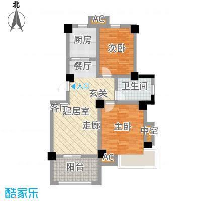 学府华园D户型80㎡二室二厅户型2室2厅1卫-T