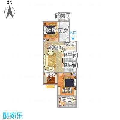 世纪中华城2室2厅户型