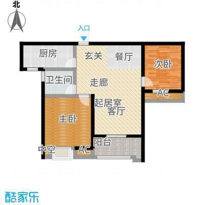 南通华润中心88.00㎡88平米两房两厅两卫户型-T