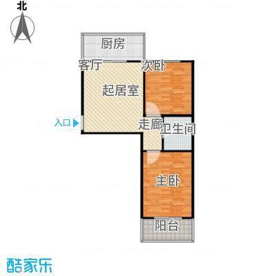 龙城尚都80.00㎡B\\\'户型 两室一厅一卫 80平米户型2室1厅1卫
