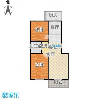 龙城尚都93.66㎡A户型 两室两厅一卫 93.66平米户型2室2厅1卫