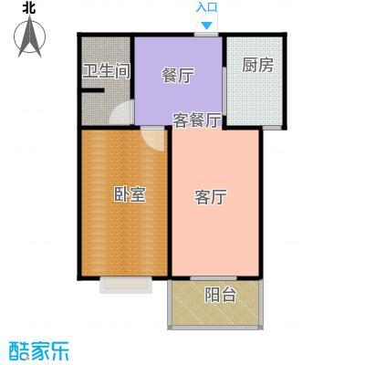 东泽园1室1厅1卫 65.08平米户型1室1厅1卫