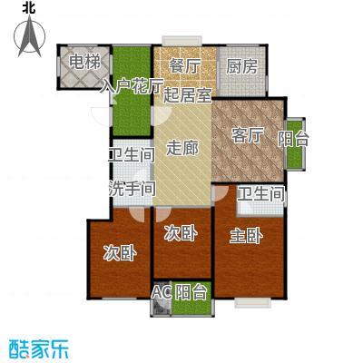 太原香颂129.57㎡11号楼T户型 三室两厅两卫 129.57平米户型3室2厅2卫