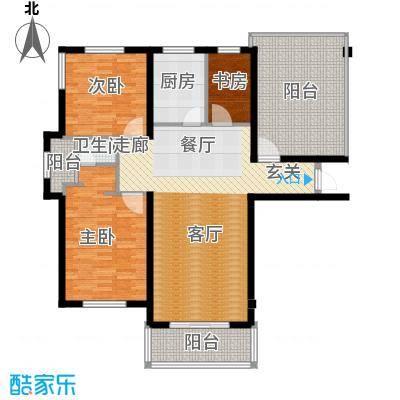 星海绿苑117.92㎡海景洋房G1户型 2室2厅1卫1厨户型2室2厅1卫