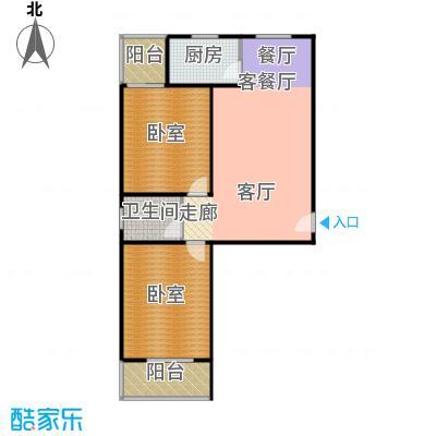 东泽园东泽园D户型2室1厅1卫1厨 86.00㎡户型2室1厅1卫
