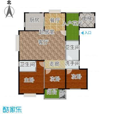 太原香颂146.18㎡12 13号楼U户型 三室两厅两卫 146.18平米户型3室2厅2卫