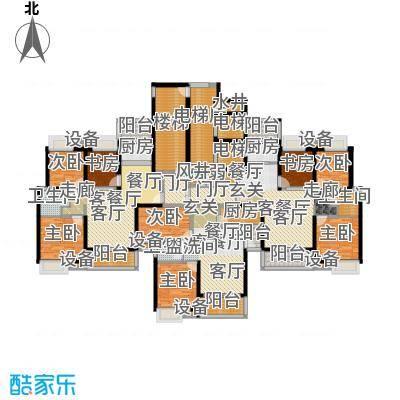 合生滨海城110.00㎡H栋楼层平面图户型3室2厅1卫
