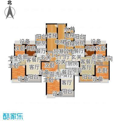 合生滨海城160.00㎡F栋楼层平面图户型3室2厅1卫