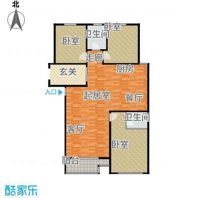 上城上林苑139.48㎡8号楼E2户型3室2厅2卫