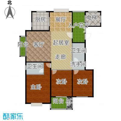 太原香颂179.94㎡12号楼V户型 三室两厅三卫 179.94平米户型3室2厅3卫