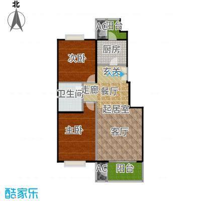 太原香颂95.81㎡1号楼E户型 两室两厅一卫 95.81平米户型2室2厅1卫
