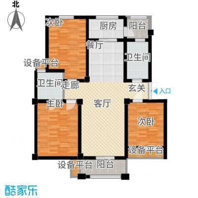 富春国际花园115.26㎡三房两厅两卫户型3室2厅2卫