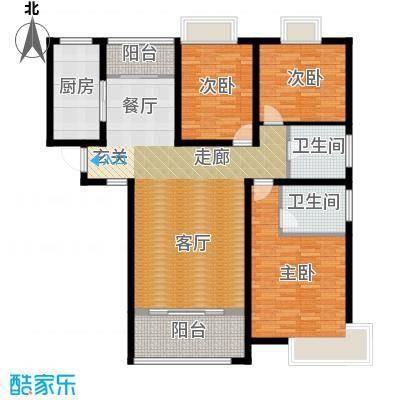 金信融城131.00㎡E户型三室两厅一厨两卫户型3室2厅1卫