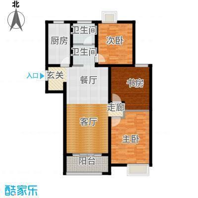 金信融城117.00㎡G户型三室两厅一厨一卫户型3室2厅1卫