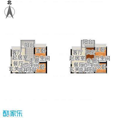 时代东安三室两厅两卫户型