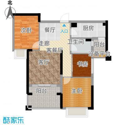 龙光水悦龙湾94.00㎡D2户型94平米3房2厅1卫户型3室2厅1卫