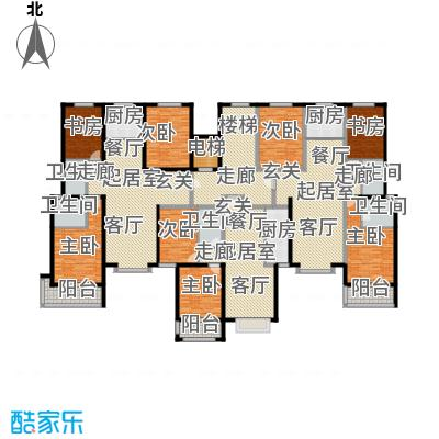 丽景华苑D户型8室5卫3厨