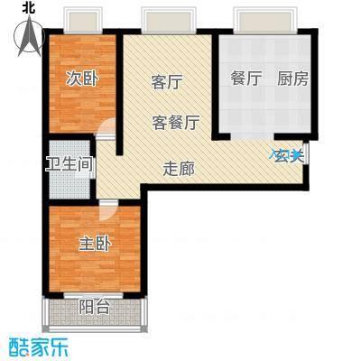 金花园95.00㎡两室两厅一卫户型