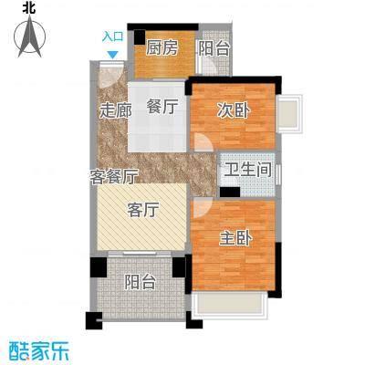 龙光水悦龙湾A2户型79.84㎡2房2厅1卫户型2室2厅1卫
