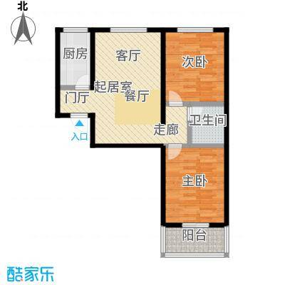 水岸金城2室2厅1卫 82.6平米户型2室2厅1卫