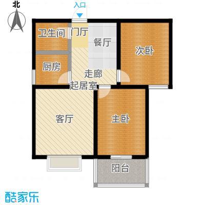水岸金城2室2厅1卫 78.5平米户型2室2厅1卫