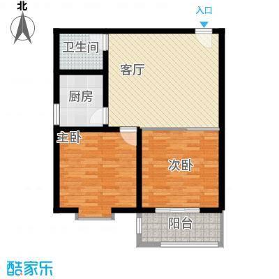 中和盛景75.96㎡二室一厅一卫户型2室1厅1卫