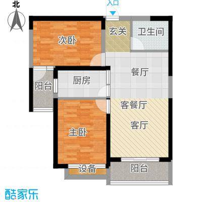 衡水时代广场A2户型2室2厅1卫