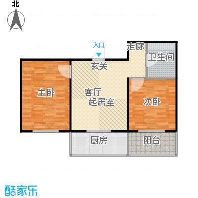 龙城尚都75.02㎡C户型 两室一厅一卫 75.02平米户型2室1厅1卫