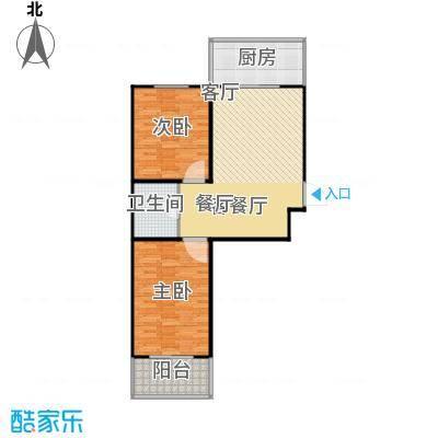 龙城尚都84.50㎡B户型 两室两厅一卫 84.5平米户型2室2厅1卫