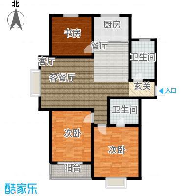 恋日晴园3室2厅2为 118m²户型3室2厅2卫