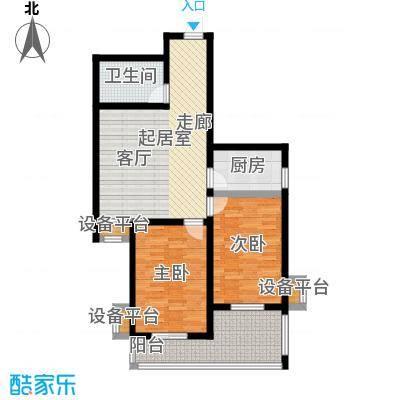 盛世长风二期86.53㎡6、7号楼D户型 二室一厅一卫户型