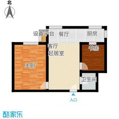 盛世长风二期62.81㎡6、7号楼A户型 二室二厅一卫户型
