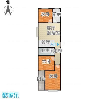 衡水金海岸118.00㎡三室两厅一卫户型3室2厅1卫