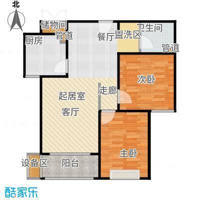 河畔中央公馆GC-D户型2室2厅1卫