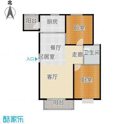 凌透花园2期二室二厅一卫户型2室2厅1卫