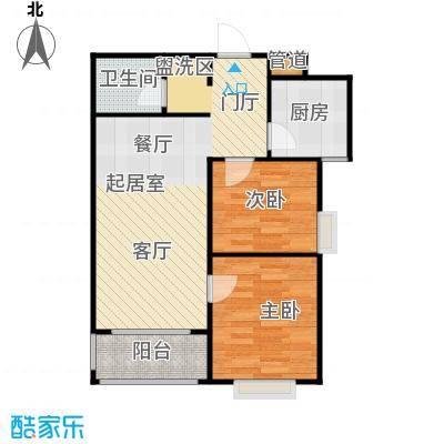 河畔中央公馆C户型二室二厅一卫81.77平米户型